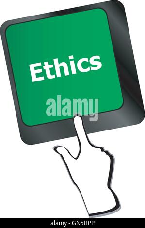 ethics concept on the modern computer keyboard key - Stock Photo