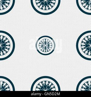 casino roulette wheel icon sign. Seamless pattern with geometric texture. Vector - Stock Photo