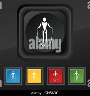 jump rope icon symbol. Set of five colorful, stylish buttons on black texture for your design. Vector - Stock Photo