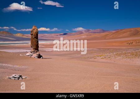 Geological monolith near Salar de Tara, Chile - Stock Photo
