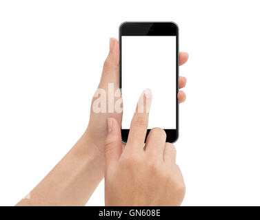 hand touch phone isolated with clipping path on white background - Stock Photo