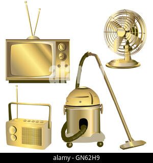 golden retro electric objects - Stock Photo