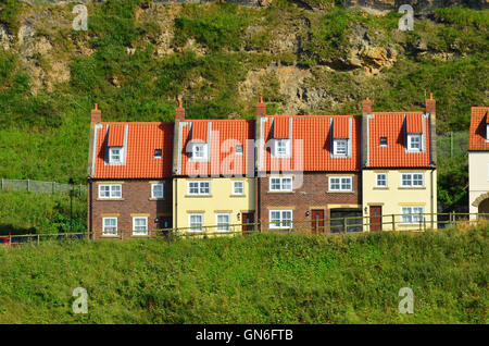 Terraced houses in Whitby in the North Yorkshire Moors England UK - Stock Photo