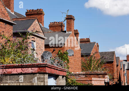 row of rear extensions on victorian terraced townhouses in the uk - Stock Photo