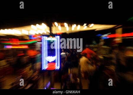 Abstract background of city and building in the night. moving camera zoom shot. horizontal - Stock Photo