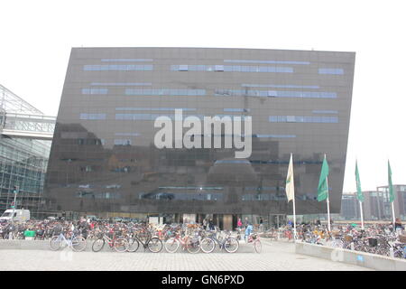 The Royal Library, The Black Diamond, The National Library of Denmark and Copenhagen University Library in Copenhagen, - Stock Photo
