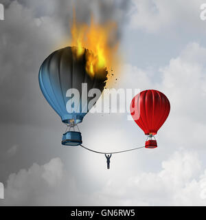 Escaping trouble and leaving a crisis as a businessman hanging from a rope trying to move away from a burning hot - Stock Photo