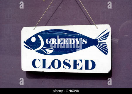 Fish and chip shop closed sign, Stow-on-the-Wold, Gloucestershire, England, UK - Stock Photo