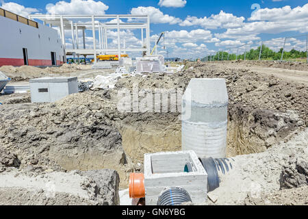Assembly process concrete reinforcement housing for drainage waste water from resident, sanitary sewer system. Landscape - Stock Photo