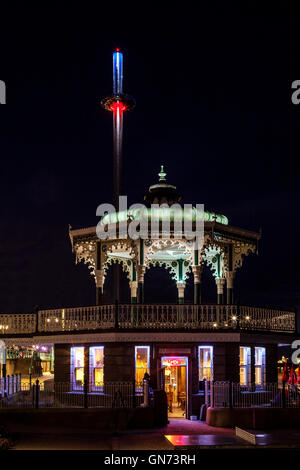 The Victorian Bandstand and The British Airways i360 Observation Tower, Brighton, Sussex, UK - Stock Photo