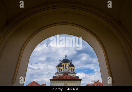 Coronation Cathedral deticated to Holy Trinity in Citadel of Alba Iulia city in Romania - Stock Photo