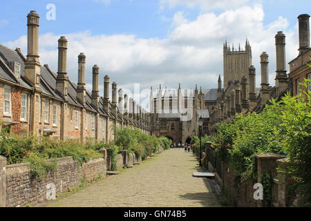 Vicars Close, east side view of this medieval cobbled street looking south towards the cathedral, Wells, Somerset, England, UK