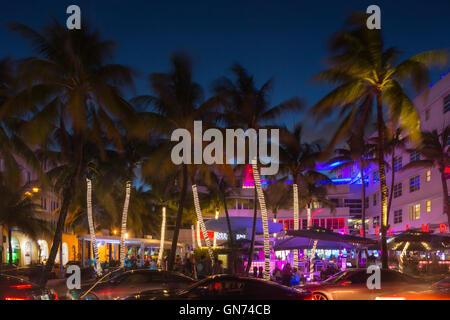 TALL PALM TREES OCEAN DRIVE SOUTH BEACH MIAMI BEACH FLORIDA USA - Stock Photo