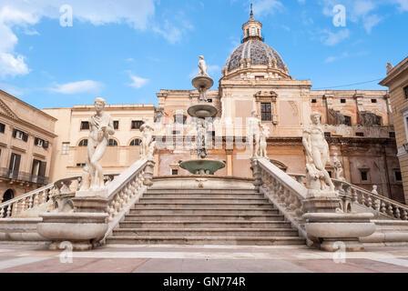 Stairs of the fountain in Piazza Pretoria, Palermo - Stock Photo