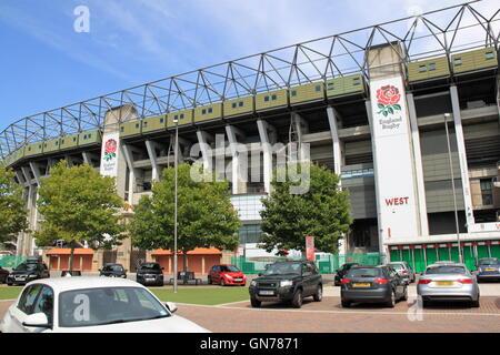 West Stand, Twickenham Stadium, Greater London, England, Great Britain, United Kingdom UK, Europe - Stock Photo