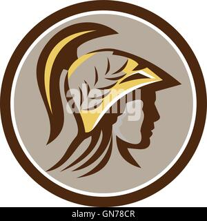 Illustration of Minerva or Menrva, the Roman goddess of wisdom and sponsor of arts, trade, and strategy head wearing - Stock Photo