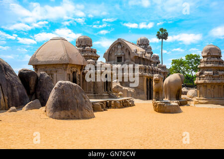 ancient Hindu monolithic Indian rock-cut architecture Pancha Rathas - Five Rathas, Mahabalipuram, Tamil Nadu, South - Stock Photo