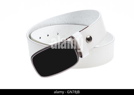 Leather white belt with metal, black buckle on white background - Stock Photo