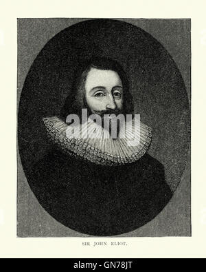 Portrait of Sir John Eliot 1592 to 1632, an English statesman who was serially imprisoned in the Tower of London, - Stock Photo