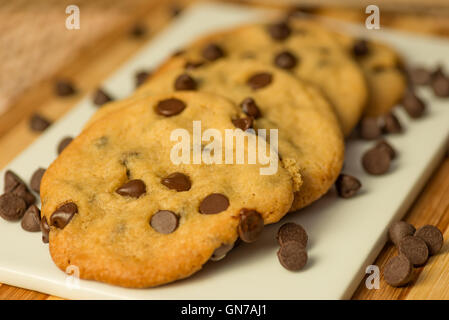 Vegan Chocolate Chips Cookies on a plate - Stock Photo
