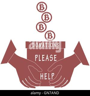 Stylized icon calling to make a donation. Bitcoins are poured into a box for donations that keep both hands on a - Stock Photo