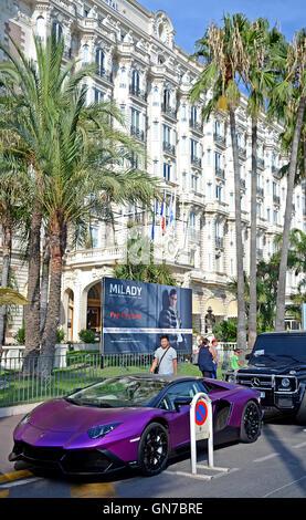 Lamborghini car before Carlton hotel Boulevard de la Croisette Cannes Provence-Alpes-Cote d'Azur France
