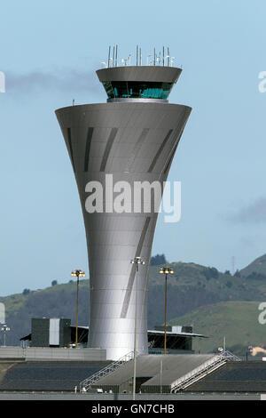 Control tower at San Francisco International Airport (SFO), Millbrae, California, United States of America - Stock Photo