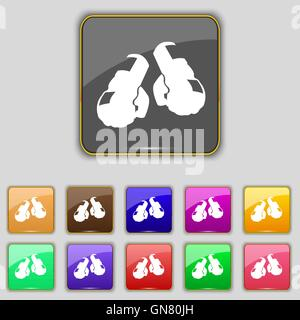 boxing gloves icon sign. Set with eleven colored buttons for your site. Vector - Stock Photo