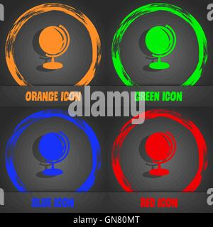 Globe icon. Fashionable modern style. In the orange, green, blue, red design. Vector - Stock Photo