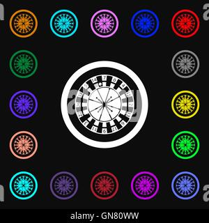 casino roulette wheel icon sign. Lots of colorful symbols for your design. Vector - Stock Photo