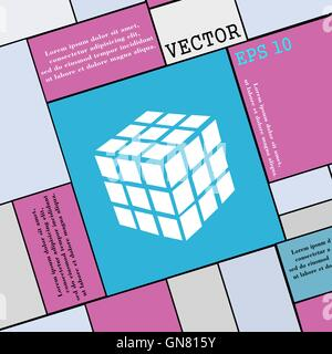 A three sided cube puzzle box in 3D icon sign. Modern flat style for your design. Vector - Stock Photo
