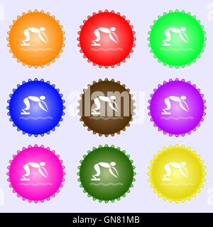 Summer sports, diving icon sign. Big set of colorful, diverse, high-quality buttons. Vector - Stock Photo