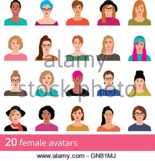 Large set of avatars attractive woman on a white background vector icons in flat style - Stock Photo
