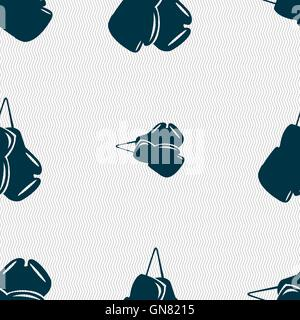 boxing gloves icon sign. Seamless pattern with geometric texture. Vector - Stock Photo