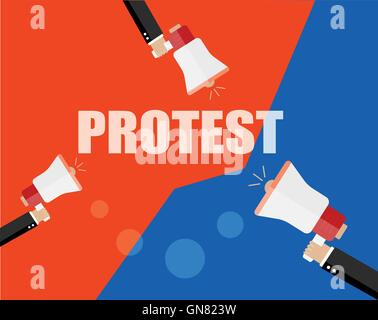 Hands holding protest signs and bullhorn, crowd of people protesters background, political, politic crisis poster, - Stock Photo
