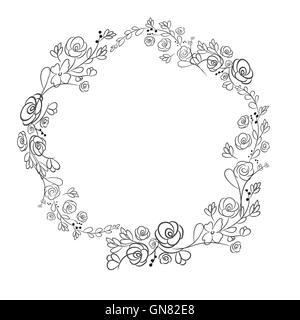 Spring flower wreath laurel branches. Vector hand drawn design e - Stock Photo