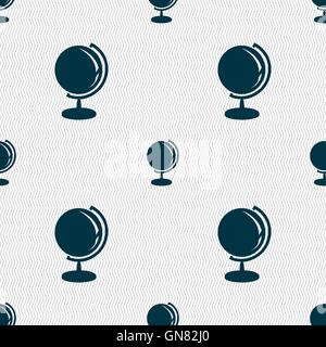 Globe icon sign. Seamless pattern with geometric texture. Vector - Stock Photo