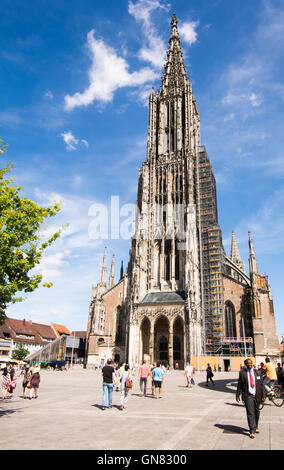 ULM, GERMANY - AUGUST 13: Tourists at the Minster of Ulm, Germany on August 13, 2016.