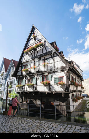 ULM, GERMANY - AUGUST 13: The so called Schiefes Haus in Ulm, Germany on August 13, 2016. - Stock Photo