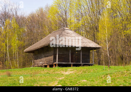 Old Traditional Rural House with Thatch Roof - Stock Photo
