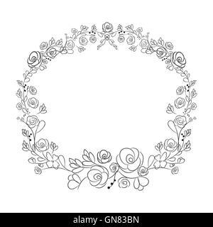 Spring flower wreath laurel branches. Vector hand drawn design - Stock Photo