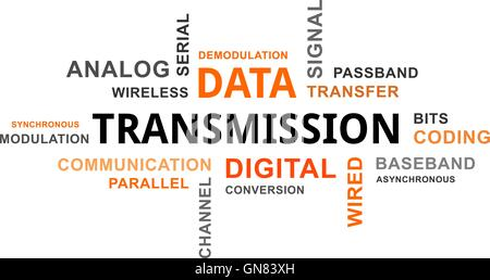 word cloud - data transmission - Stock Photo