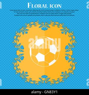 Football Icon Icon Floral Flat Design On A Blue Abstract