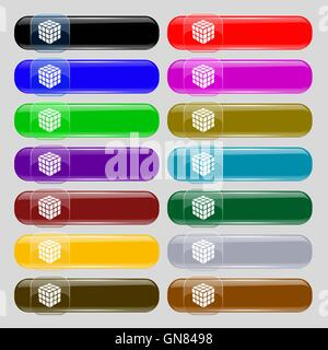 A three sided cube puzzle box in 3D icon sign. Set from fourteen multi-colored glass buttons with place for text. - Stock Photo