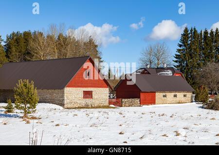 Stone farm houses. Traditional Estonian architecture - Stock Photo