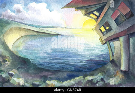 Fantasy land, watercolor illustration - Stock Photo