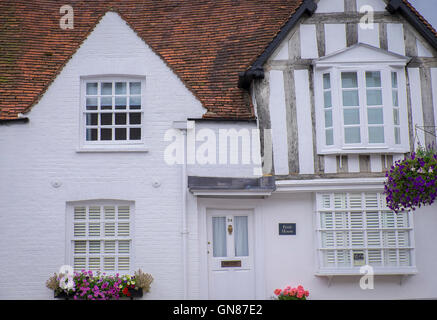 beautiful all white house in the  town of old amersham ,england - Stock Photo