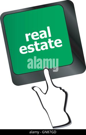 Real Estate concept. hot key on computer keyboard with Real Estate words - Stock Photo
