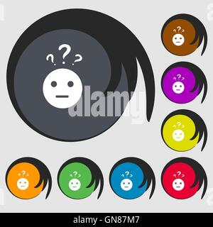 question mark and man, incomprehension icon. Symbols on eight colored buttons. Vector - Stock Photo