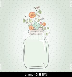 Cute bouquet of wedding flowers in a glass jar. - Stock Photo